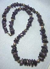 "Amethyst & Silver Bead Necklace   34 3/4"" long"