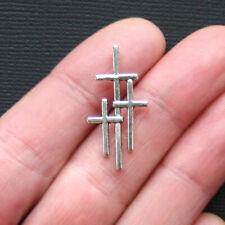 10 Triple Cross Antique Silver Tone Charms - SC3038