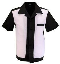Retro White/Black 50s Rockabilly Bowling Shirts