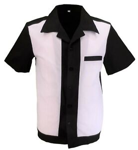 Retro White/Black 50s Rockabilly Bowling Shirts