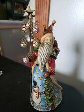 Roman Inc Cloisonne Santa W/ Tree Flag Wind Up Music Playing Santa Figure Statue
