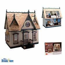 Wooden Dollhouse Kit Pink Miniature Victorian House Kids Adult Home Hobby Decor