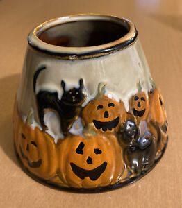 """Yankee Halloween Pumpkin and Black Cat Candle Shade Topper 4 3/4"""""""