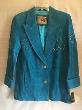 Vtg Aqua Blue Suede Jacket Silver Studs Atlantic Beach Leather Coat Retro Size S