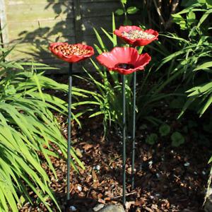 Decorative Poppy Wild Bird Feeders Seed Nut Water Bowl Bath Dish Garden Flower