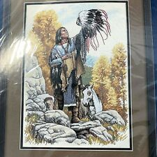 """Sunset Counted Cross Stitch Kit Invoking The Great Spirit Native American 10x14"""""""