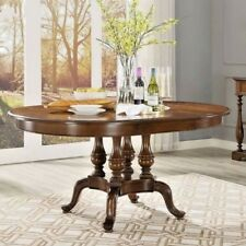Contemporary Extendable Dining Table American Style Hand Carved Solid Wood