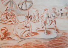 Vintage pastel painting portrait beach