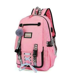 Women College School Bags For Teenage Girls USB With Lock Anti Theft Backpack
