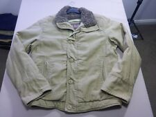 037 MENS EX-COND ABERCROMBIE & FITCH OLIVE FAUX FUR LINED JACKET MEDM $240 RRP.