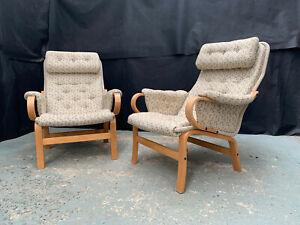 EB1809 Pair of Danish Bent Beech & Beige Fabric Arm Chairs Mid Century Modern