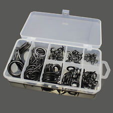 75pcs Stainless Steel Fishing Rod Guide Tip Repair Kit Eye Ring Set With Box