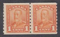 """Canada MINT OG PAIR Scott #160  1 cent orange  """"KGV Scroll COIL""""   F"""