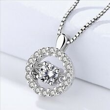 Real 925 Sterling Silver Dancing Round Elegant Crystal Pendant Necklace Chain 18
