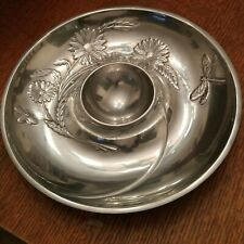 "Lenox ""Butterfly Meadow"" Polished Aluminum Chip/Relish And Dip Server"