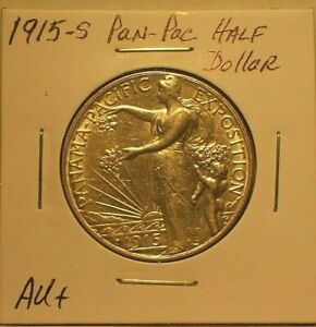 1915-S STRONG AU PANAMA - PACIFIC COMMEMORATIVE HALF DOLLAR