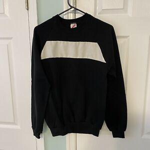 Vtg Jerzees Solid Black White Sweatshirt Pullover Size Large White Mesh Stripe
