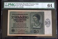 GERMANY 1924 20 Trillion Mark (20 Billionen) PMG 64 Choice UNC P-138 Ros.135