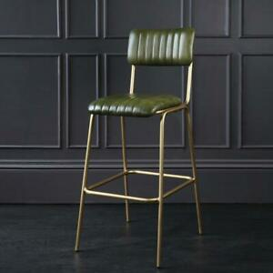 Diner Bar Stool 75 Green Leather Gold 106 x 50 x 43cm Restaurant Industrial