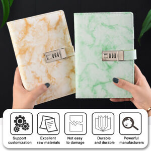 Marbled PU Leather Journal Wired Diary Lockable NoteBook w/ Password Code Lock