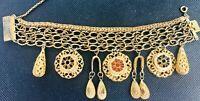 Vtg Ornate Gilt Filigree Enameled Medallion BRACELET Victorian Revival Jewelry