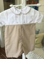 Petit Ami Boys 6M Embroidered Romper Tan and White w/ Collar, Piping and Cuffs
