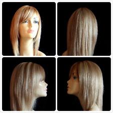 100% REAL HUMAN HAIR FULL LADY WIG LIGHT GOLDEN BROWN HONEY MIX YELLOW BLONDE UK