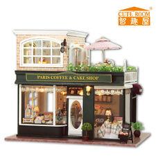 New Kits DIY Wooden Dollhouse miniature Doll House+Music Paris Coffee shop