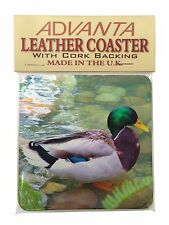 Mallard Duck by Stream Single Leather Photo Coaster Animal Breed Gift, AB-DU73SC