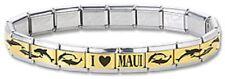 I Heart Maui Dolphin Italian Charm Bracelet Stainless Steel 9 mm Gold Links New