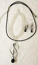 jewelry set glass crystal black earring pendant necklace bracelet pierced silver
