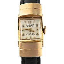 Vintage 14kt Yellow Gold Baronet Incabloc Women's Hand-Winding Watch 17 Jewels