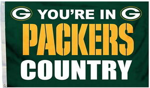 NEW 3x5 ft YOU'RE IN GREEN BAY PACKERS COUNTRY NFL FLAG au
