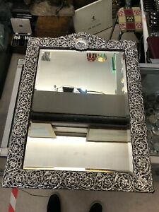 Antique Large Victorian English HM Sterling Silver Frame Mirror Circa1900