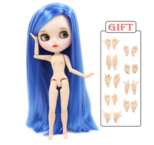Long Blue Straight Hair ICY Blythe doll white joint body 1/6 BJD 4 Changing Eyes