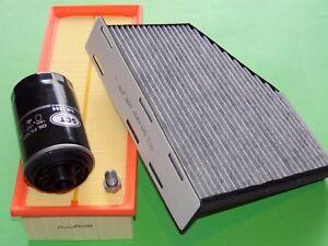 Ölfilter Luftfilter Aktivkohle-Pollenfilter Audi A3 8P 1.8 & 2.0 TSI (118-147kW)