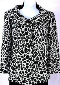 NWT ST.JOHN Evening Women Knit White Black Silver Studs Throughout Jacket Sz 6