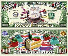 Happy Birthday Bucks Million Dollar Bill Funny Money Novelty Note + FREE SLEEVE