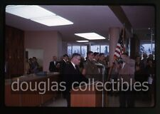 1963 Kodachrome Photo slide Boy scouts Flag Bank Interior Man with movie camera