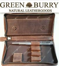 Greenburry Vintage Leder Stifteetui Federmäppchen Mäppchen braun *!bestprice!*