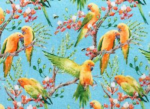 100% Cotton Fabric - Beautiful Love Birds on Sky Blue - Craft Fabric Material