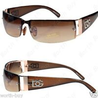 New  Mens Womens Rectangular Designer Sunglasses Shades Wrap Gold Brown Retro