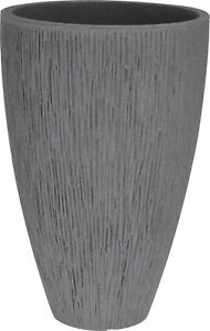 Large Ribbed Grey Planter Plant Pot 62cm Tall Indoor & Outdoor Planter