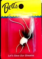🌟 Betts Pop Hop Black and White Size 6 Fly Fishing Popper Fishing Lure