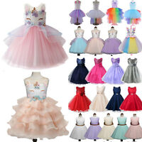 Kids Baby Flower Girls Party Unicorn Formal Wedding Bridesmaid Tutu Tulle Dress