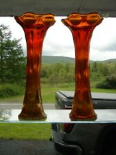 "PAIR (2) Imperial BEADED BULLSEYE Marigold Carnival Glass 11"""