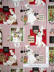 Christmas Snowman Bakery Stripe Cotton Fabric QT Bakers Dozen Wecker Frisch Yard