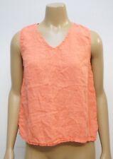 Match Point Womens Small Tank Top Orange Sleeveless 100% Linen Lagenlook