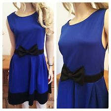 Simply Fabulous Size 16 Blue Black Bow Trim Skater DRESS Party Evening Be New