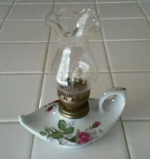VTG Oil Finger Lamp Porcelain Lanterns Pink Rose Chic Twin Genie